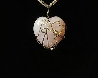 Heart shaped wired wrapped Rose Quartz crystal necklace