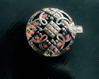 1800s Clasp Buckle Hand Painted Turn of the Century Buckle Victorian Buckle Victorian Clasp