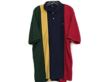 Streetwear Men's Colorblock Polo Shirt - by Hunt Club - Vintage 1990s