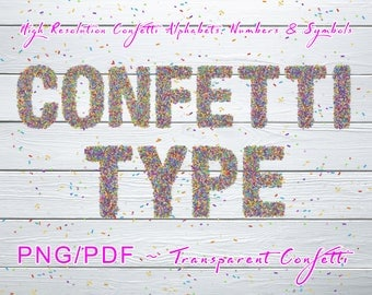 Confetti Party Planner Stock 4PNG / 1PDF Pack, High Resolution Transparent Confetti Alphabets, Numbers, Symbols, Multipurpose   Royalty Free