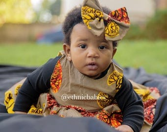 African dress, turtleneck and hairbow/Ankara  dress/African babygirl clothes/baby set/ hairbow/Newborn clothes/African clothing/