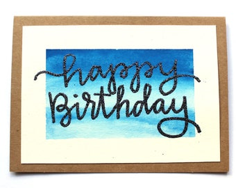 Handmade Watercolor Variety Cards | Set of 4 | Thank You | Birthday | Congratulations | Get Well Soon