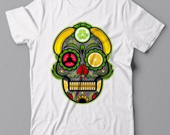 Funny T-shirt Vegan Sugar Skull - Vegan vegetarian gift idea