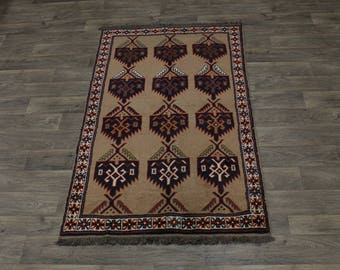 Great Geometric Pattern Tribal Ghoochan Persian Area Rug Oriental Carpet 4X7