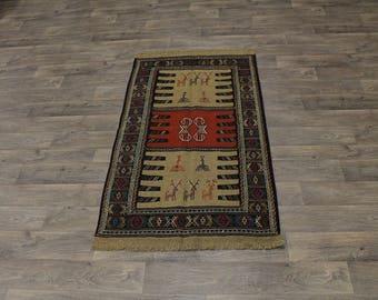 Great Shape Tribal Hand Woven Tribal Sumak Persian Rug Oriental Area Carpet 3X6