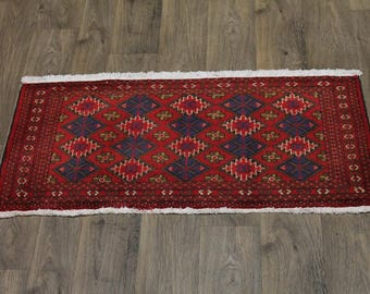 Small Size Rare Handmade Tribal Turkoman Persian Rug Oriental Area Carpet 2X4