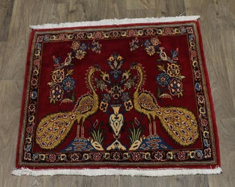 Delightful Birds Square Small Kashan Persian Wool Rug Oriental Area Carpet 3X3
