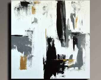 ABSTRACT PAINTING Black White Gray Gold Painting Original Canvas Art Contemporary Abstract Modern Art 36x36 wall decor -Unstretched -47WBGi1