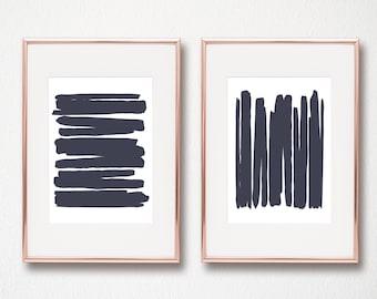 Navy Abstract Art Set of 2 Navy lines modern art minimalist Scandinavian digital art prints wall art printables 8x10 and 11x14 included
