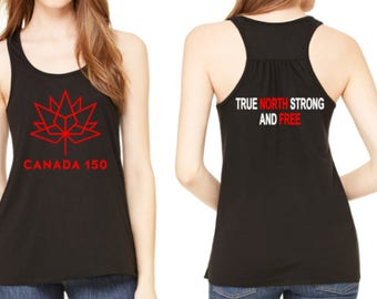 Canada 150 - Canada Day - logo - official retailer - Celebrate canada's Birthday - tank top - true north strong and free