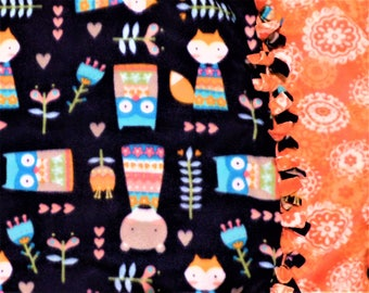 WHOOTs that FOXY Critter? Handmade fleece blanket designed by JAX. A fox & owl nature themed throw has vibrant colors a gift for nature fans