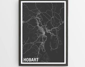 Hobart City Map Print - Various Colours / Australia / City Print / Gifts for Men / Australian Maps / Giclee Print / Poster
