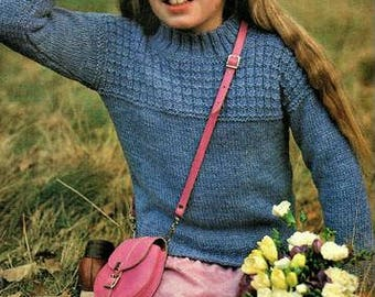 Childs Crew Neck Jumper with stitch Pattern Vintage Knitting Pattern pdf, sizes 24, 26, and 28 inch chest