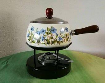 Vintage enamel fondue set