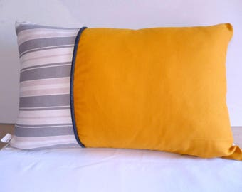 "Pillow cover, 40x60cm. Printed ""upholstery"" and saffron, separated by piping"