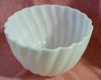 Large milk glass bowl swirl pattern, beaded bottom
