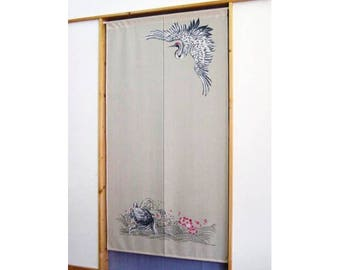 Made in Japan Noren Curtain Tapestry Japanese Crane and Tortoise