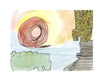 Pink spiral - art print of an original drawing