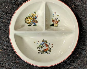 Childs Plate from Salem China Co Salem Ohio Three Sections with Circus Clowns Performing in Each Vintage Good Graphics with Red Rim