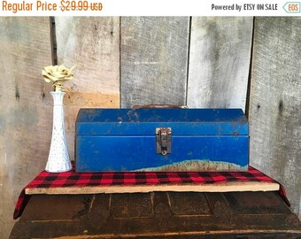 On Sale Vintage Blue Tool Box with Red Tray , Metal , Rectangle , Bright Blue , Wildcat , Craft Storage , Tackle , Rustic , Garage , Men , P