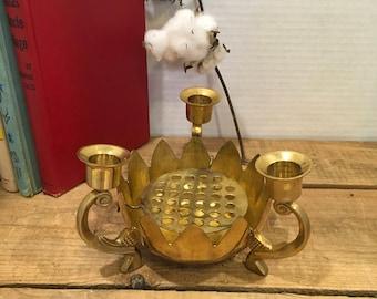 Vintage brass candle holder pedestal mid century decor metal gold wedding gift Hollywood regency cottage