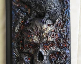 Pestilence, polymer journal, skull, rat, death, goth, dark art, 200 blank pages