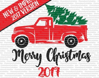 Christmas Truck 2017, svg, cut, file, decal, vector, tree, winter, holidays, silhouette cameo, cricut, cutting, clipart, files, design