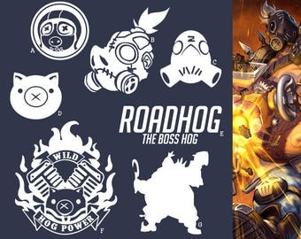 Roadhog Overwatch Tank Hero | Vinyl Decal Sticker, Overwatch, Blizzard, Gaming, 17 Colors, Oracle Long Lasting | SneakyStickers