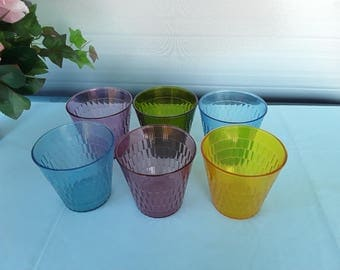 Vintage Plastic Tumblers - 6 Mixed Colored  Oatmeal Glasses