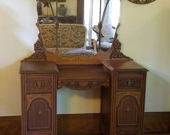 Attractive Custom Vanity! Antique Vanity Table With Mirror   Choose Color, Finish And  Drawer Treatment