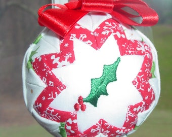 Quilted ball ornament featuring holly leaf
