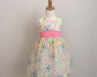 Girls Summer Dress - Size 2, Girls Birthday Dress, Tea Party Dress, Spring Dress, Girls Pastel Dress, Girls Party Dress, Girls Floral Dress