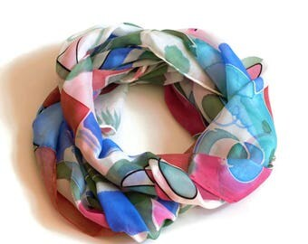 Soft pink and blue scarf, pure silk scarf, rectangluar silk scarf, pastel silk scarf, gift for her, luxury accessory, silk fabric