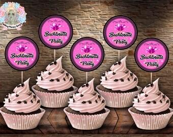 BACHLORETTE CUPCAKE TOPPERS, Bachlorette Party Favor, Bachlorette Printable, Printable Bachlorette, Bachlorette Party, Cupcake Toppers
