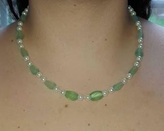 White Pearl with Sea Foam Green Beads
