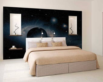 Wall Mural Planets, Galaxy Wall Mural, Wall Mural Space, Wallpaper Planets, Planets Wall Decal