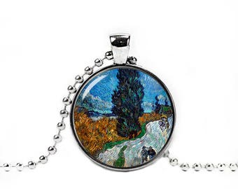 Country road in Provence Necklace Van Gogh Pendant Road with Cypress and Star