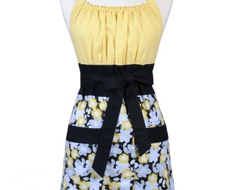 Womens Retro Chef Apron Gray and Yellow Petals on Black Floral Retro Vintage Inspired Kitchen Cooking Hostess Apron with Pockets