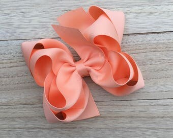 Double stacked boutique hair bows, double layer hair bows, peach double stacked hair bows, girls hair bows, 5 inch hair bows, peach hair bow
