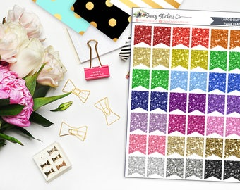 Large Glitter Page Flag Planner Stickers