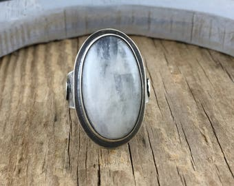 2017 Inventory SALE: Moonstone Ring with Moon and Stars Detail on Band, Boho Jewelry, Moonstone Statement Ring