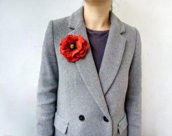 Poppy Felt brooch, Felted flower brooch pin, Felted Red Poppy Brooch, Pin flower, Red poppy flower, Wool Flower, Felt Poppy, Red poppy pin