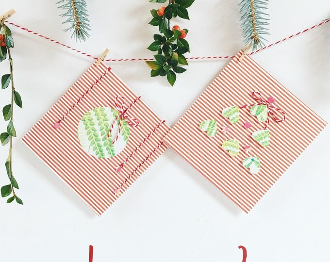Two pack botanical Christmas cards