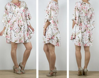 Ladies Kaftan dress, short beach boho dress tunic in soft flowy floral rayon Australian sellers size 6 8 10 12 14 16
