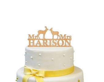 SALE! Mr and Mrs Cake Topper bride and groom Wood Personalized  Wedding Cake Topper Custom Wooden Wedding Cake Topper