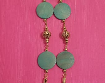 Turquoise and Gold Earrings with Spikes