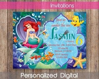Little Mermaid Invitation Etsy - Custom ariel birthday invitations