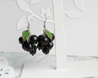 berry jewelry, currant earrings, berry earrings, currant jewelry, black earrings, long earrings, black currant, gift for woman, gift for her