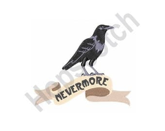 Nevermore - Machine Embroidery Design - 5 X 7 Hoop, Crow, Raven