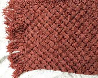 Rust colour crochet throw